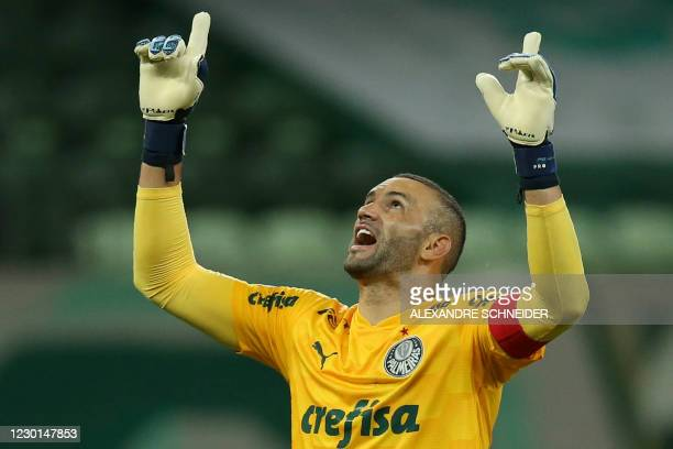 Brazil's Palmeiras goalkeeper Weverton celebrates after one of the team's goal against Paraguay's Libertad during their Copa Libertadores...