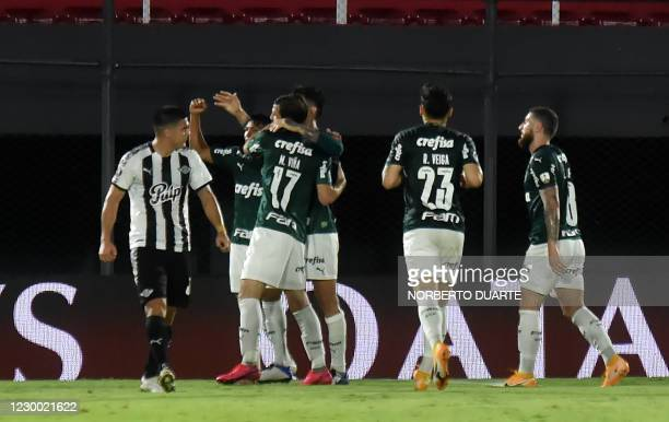 Brazil's Palmeiras Paraguayan Gustavo Gomez celebrates with teammates after scoring against Paraguay's Libertad during their Copa Libertadores...