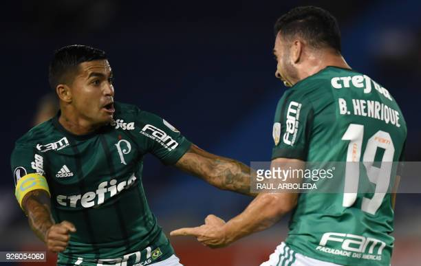 Brazil's Palmeiras player Bruno Henrique celebrates his goal against Colombias Atletico Junior during their Copa Libertadores football match at...