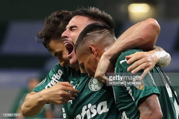 Brazil's Palmeiras Willian celebrates with teammates after scoring against Ecuador's Delfin during their closed-door Copa Libertadores round before...