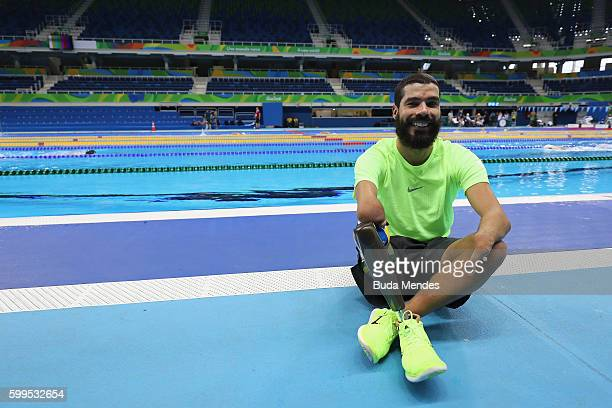 Brazil's Paralympic swimmer Daniel Dias poses for a photographer during a training session at the Aquatics Stadium on September 5 2016 in Rio de...