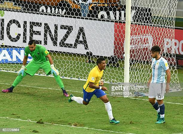 Brazil's Paulinho celebrates after scoring against Argentina during their 2018 FIFA World Cup qualifier football match in Belo Horizonte Brazil on...