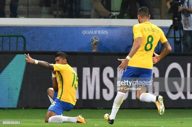 Brazil's Paulinho celebrates after scoring against Chile during their 2018 World Cup football qualifier match in Sao Paulo Brazil on October 10 2017...