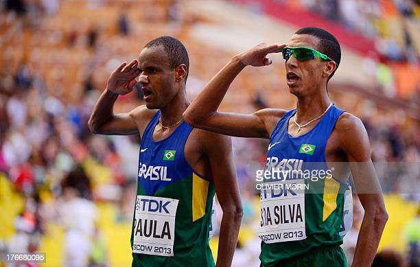 Brazil's Paulo Paula and Solonei da Silva finish the men's marathon final at the 2013 IAAF World Championships in Moscow on August 17 2013 AFP PHOTO...