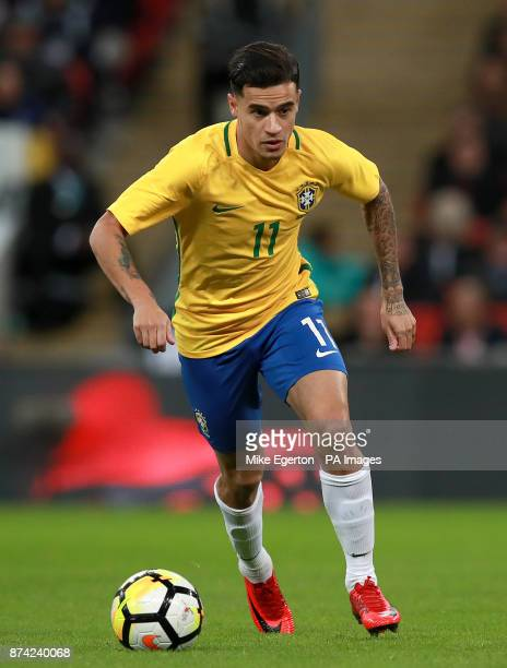 Brazil's Philippe Coutinho during the Bobby Moore Fund International match at Wembley Stadium London PRESS ASSOCIATION Photo Picture date Tuesday...