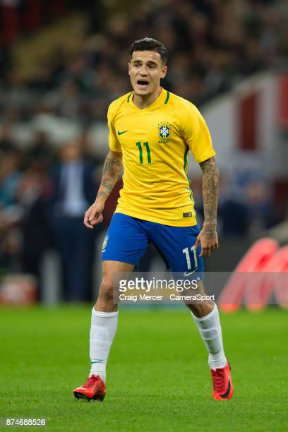 Brazils Philippe Coutinho during the Bobby Moore Fund International between England and Brazil at Wembley Stadium on November 14 2017 in London...