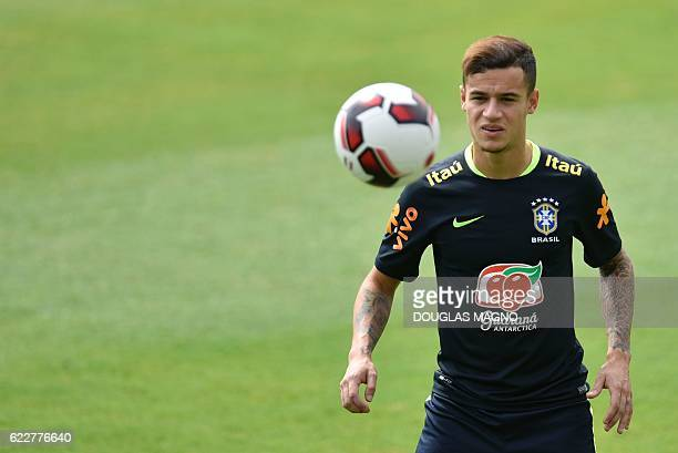 Brazil's Philippe Coutinho is pictured during a training session of the national football team at the Atletico Mineiro Training Centre in Vespasiano...