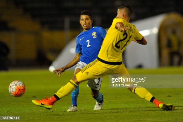 Brazil`s player Dodo vies for the ball with Colombia`s Juan Pablo Ramírez during their South American Championship U20 football match at the Olimpico...