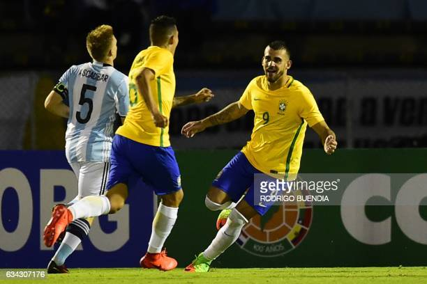 Brazil's player Felipe Vizeu celebrates his goal against Argentina during their U-20 South American Championship football match at the Olimpico...