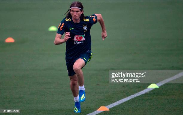 Brazil's player Filipe Luis attends a training session of the national football team ahead of FIFA's 2018 World Cup at Granja Comary training centre...