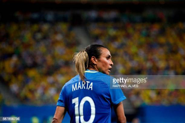 Brazil's player Marta is seen during the Olympic Games Rio 2016 women's first round Group E football match between South Africa and Brazil at the...