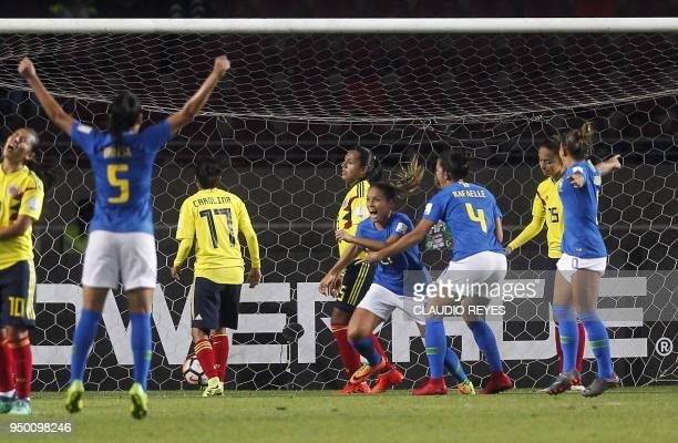 Brazil's player Monica Hickmann celebrates after scoring against Colombia during the women's Copa America match at La Portada stadium in Serena Chile...