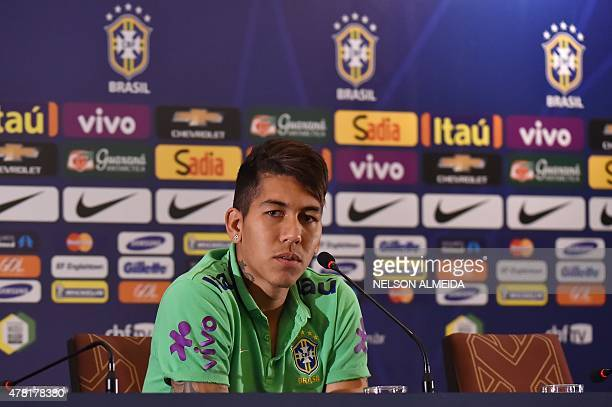 Brazil's player Roberto Firmino listens to a question during a press conference in Santiago Chile on June 23 2015 during the Copa America 2015 AFP...