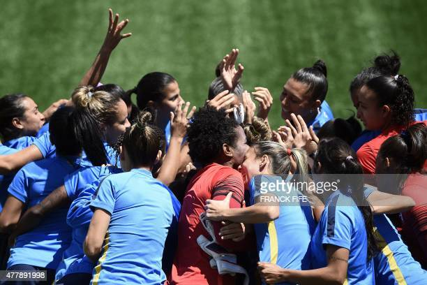 Brazil's players attend a training session at the Moncton Stadium New Brunswick on June 20 2015 on the eve of Brazil's 2015 FIFA Women's World Cup...