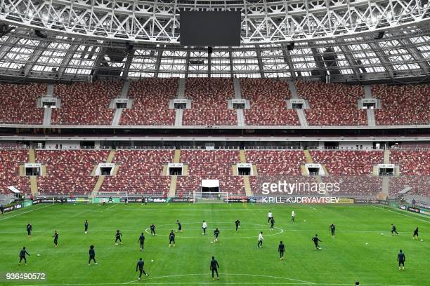 TOPSHOT Brazil's players take part in a training session at the Luzhniki stadium in Moscow on March 22 on the eve of a friendly football match...