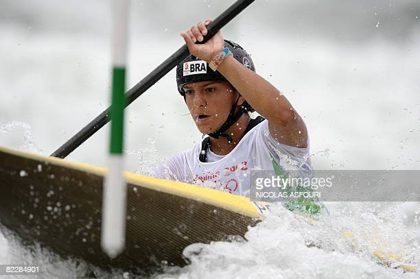 Brazil's Poliana De Paula competes during the women's kayak K1 competition for the 2008 Beijing Olympic Games at the Shunyi Olympic RowingCanoeing...