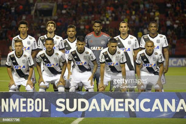Brazil's Ponte Preta footballers pose for pictures before the start of the Copa Sudamericana football tournament match against Brazil's Sport Recife...