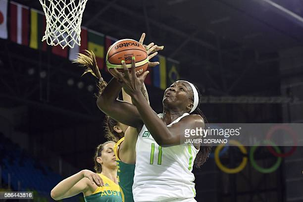 Brazil's power forward Clarissa Santos goes to the basket during a Women's round Group A basketball match between Brazil and Australia at the Youth...
