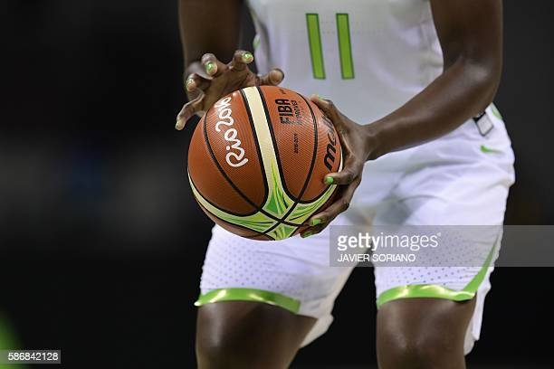 Brazil's power forward Clarissa Santos prepares to shoot during a Women's Group A basketball match between Brazil and Australia at the Youth Arena in...
