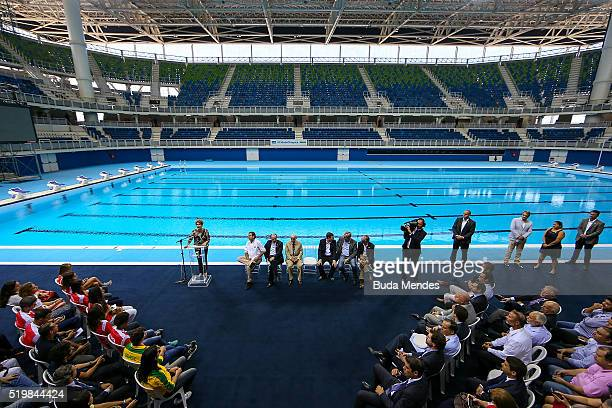 Brazil's President Dilma Rousseff attends during the inauguration ceremony of the Olympic aquatic venue at the 2016 Rio Olympics park on April 8 2016...
