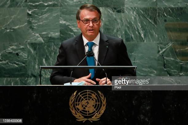 Brazil's President Jair Bolsonaro addresses the 76th Session of the U.N. General Assembly on September 21, 2021 at U.N. Headquarters in New York...