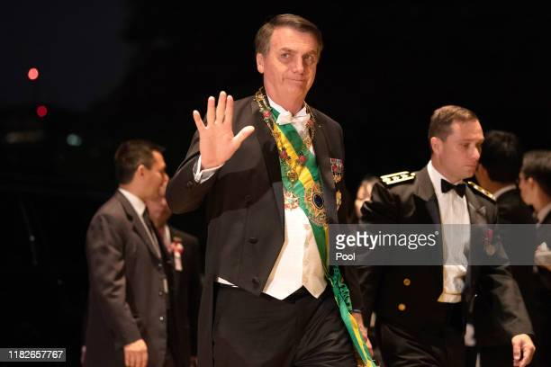 Brazil's President Jair Bolsonaro arrives at the Imperial Palace for the Court Banquets after the Ceremony of the Enthronement of Emperor Naruhito on...