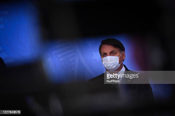 Brazil's president Jair Bolsonaro attends the launching ceremony of a campaign to support rural women at Palace in Brasilia Brazil on Wednesday July...
