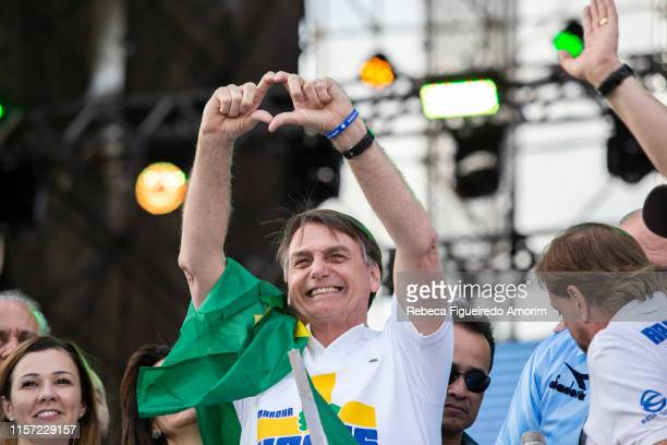 Brazil's President Jair Messias Bolsonaro participates of March for Jesus on June 20 2019 in Sao Paulo Brazil