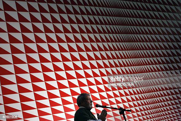Brazil's President Luiz Inacio Lula da Silva delivers a speech during a visit to the ABC Federal University campus still under construction in Santo...