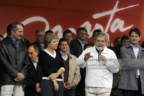 Brazil's President Luiz Inacio Lula da Silva delivers a speech in support of Sao Paulo's mayoral candidate Marta Suplicy of the Workers Party and her...