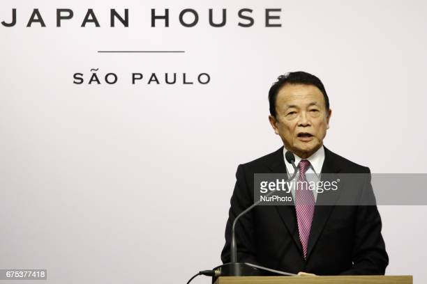 Brazil's President Michel Temer and Japan's Deputy Prime Minister Taro Aso attend the opening ceremony of Japan House on Paulista Avenue in Sao Paulo...