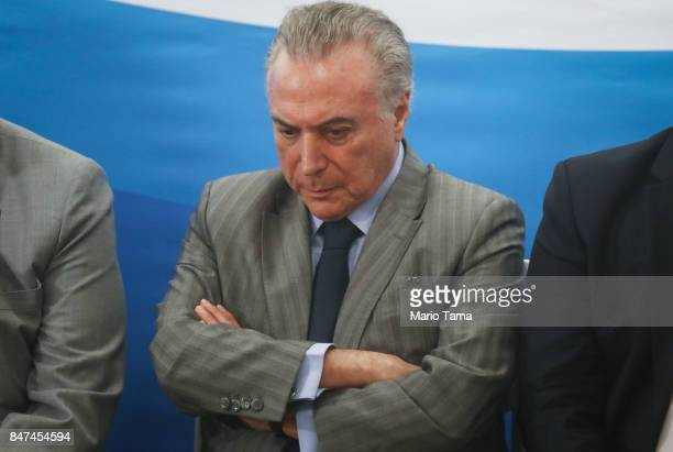 Brazil's President Michel Temer attends the inauguration ceremony of the Radiosurgery Center at the Paulo Niemeyer Brain Institute on September 15...