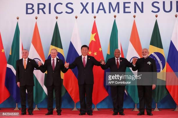 Brazil's President Michel Temer Russian President Vladimir Putin Chinese President Xi Jinping South Africa's President Jacob Zuma and Indian Prime...