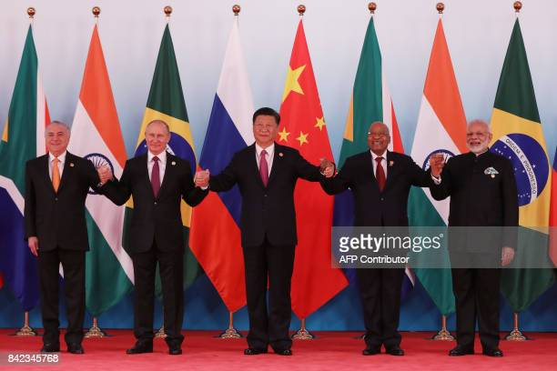 TOPSHOT Brazil's President Michel Temer Russia's President Vladimir Putin China's President Xi Jinping South Africa's President Jacob Zuma and...