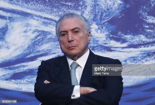 Brazil's President Michel Temer sits at the National Meeting for Foreign Trade on August 9 2017 in Rio de Janeiro Brazil The unpopular president was...