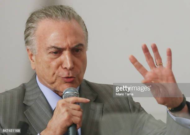 Brazil's President Michel Temer speaks at the inauguration ceremony of the Radiosurgery Center at the Paulo Niemeyer Brain Institute on September 15...