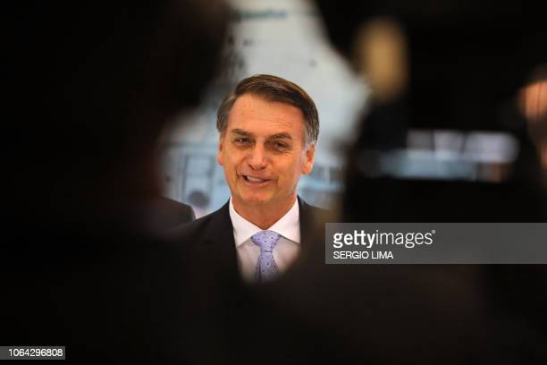Brazil's presidentelect Jair Bolsonaro is pictured at the Aeronautics Command in Brasilia after meeting with military commanders on November 22 2018