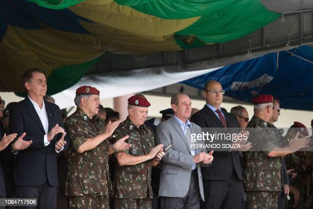 Brazil's Presidentelect Jair Bolsonaro is pictured during the graduation ceremony of new paratroopers at the Parachute Infantry Battalion Vila...