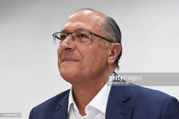 Brazil's presidential candidate for the Brazilian Social Democratic Party Geraldo Alckmin attends a PSDB meeting in Brasilia on October 09 to discuss...