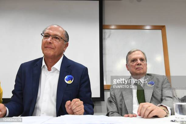 Brazil's presidential candidate for the Brazilian Social Democratic Party Geraldo Alckmin and Senator Tasso Jereissati attend a PSDB meeting in...