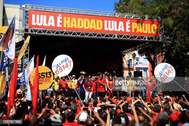 Brazil's presidential candidate for the Workers' Party Fernando Haddad addresses supporters during a campaign rally in downtown Recife Pernambuco...