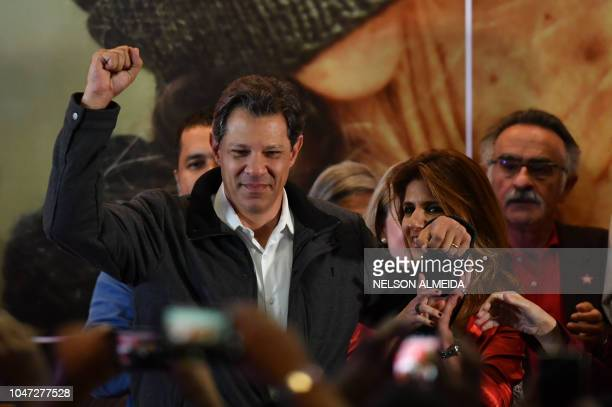 Brazil's presidential candidate for the Workers' Party Fernando Haddad delivers a speach after the first round of the general elections at a hotel in...