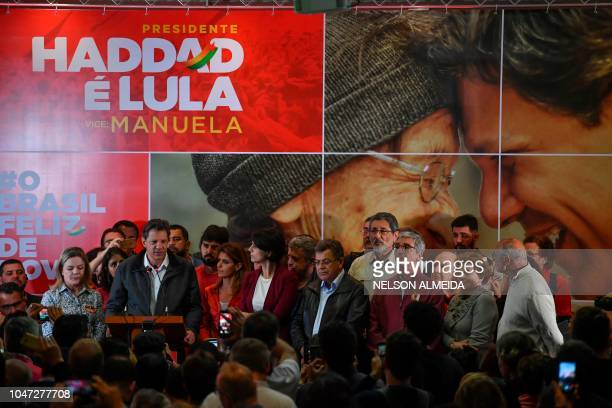 Brazil's presidential candidate for the Workers' Party Fernando Haddad speaks after the first round of the general elections at a hotel in Sao Paulo...