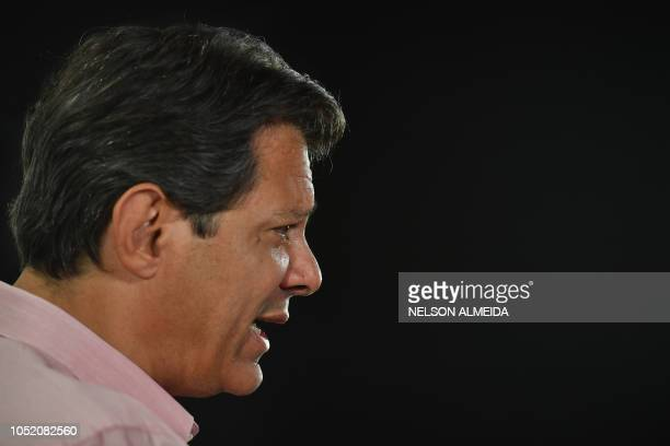Brazil's presidential candidate for the Workers' Party Fernando Haddad speaks during an interview with AFP in Sao Paulo Brazil on October 13 2018...