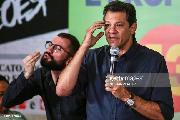 Brazil's presidential candidate for the Workers' Party Fernando Haddad speaks during a meeting with teachers in downtown Sao Paulo Brazil on October...