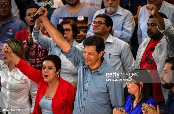 Brazil's presidential candidate for the Workers' Party Fernando Haddad gestures during a meeting with trade unionists in Sao Paulo Brazil on October...