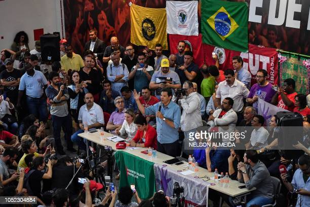 Brazil's presidential candidate for the Workers' Party Fernando Haddad speaks during a meeting with trade unionists in Sao Paulo Brazil on October 16...