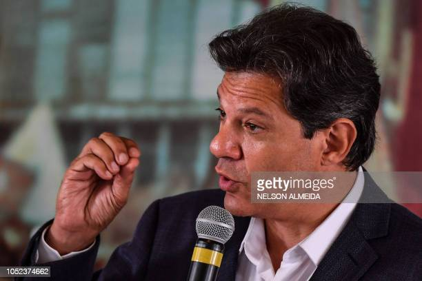 Brazil's presidential candidate for the Workers' Party Fernando Haddad speaks during a meeting with a group of evangelical pastors in Sao Paulo...