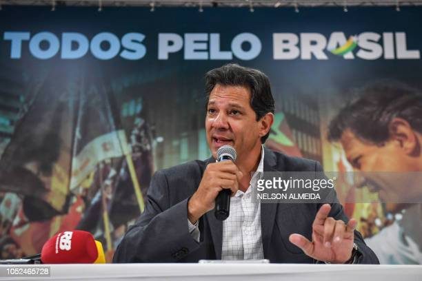 Brazil's presidential candidate for the Workers' Party Fernando Haddad speaks during a press conference for the international media in Sao Paulo...