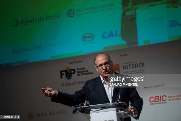 Brazil's presidential precandidate of the Brazilian Social Democratic Party Geraldo Alckmin speaks during the National Mayors Meeting in the city of...